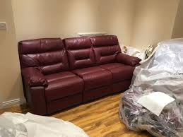 brand new dfs 3 seater leather recliner colour scarlet sofa