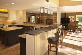 lights above breakfast bar kitchen contemporary with stone