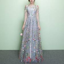 evening gown buy rosita 3 4 sleeve floral embroidered evening gown yesstyle