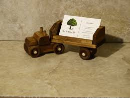 Desk Business Card Holder For Men Handmade Wood Truck Business Card Holder Walnut Stained Desk