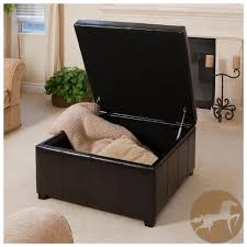 black leather storage ottoman with tray about square storage ottoman