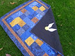 wizard school quilt made to order blue and bronze blue
