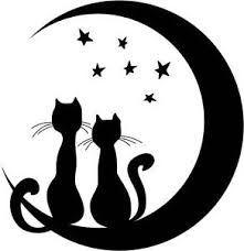 two cats sitting on moon w vinyl wall sticker decal 16