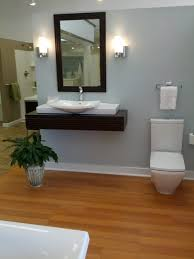 furniture brown wooden floating vanity and white sink combined