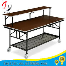 Folding Table With Wheels And Western Restaurant Buffet Table Multi Purpose Double Decked
