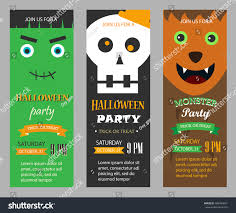 halloween party invitations vertical banners set stock vector