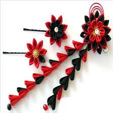 and black kanzashi fabric flower hair for wedding