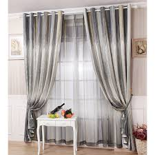 Ombre Window Curtains Gray Striped Chenille Thermal Modern Ombre Curtain Panels