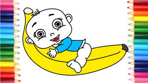 how to draw baby doll banana finger family song coloring pages