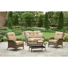 Mainstays Crossman 7 Piece Patio Dining Set Green Seats 6 Better Homes And Gardens Mckinley Crossing 4 Piece Patio