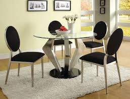 Dining Table Chairs Set Rovigo Large Glass Chrome Dining Room Table And 4 Chairs Set