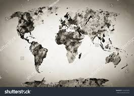 World Map Black And White Watercolor World Map Black White Paint Stock Illustration