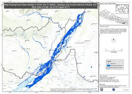 Map Of Nepal India by Map Showing Flood Water Situation In Koshi River In Saptari