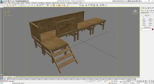 temporary construction site platform with stairs 3d model