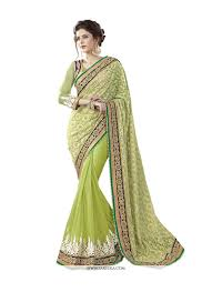 pista green color buy net brasso embroidered work traditional saree online germany