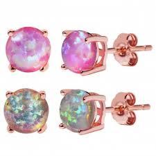 opal stud earrings 18k gold plated sterling silver opal stud earrings
