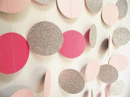 glitter circle garland silver pink and light pink glitter