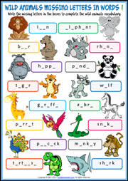animals esl printable worksheets and exercises