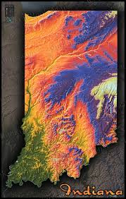Map Indiana Indiana Topographic Wall Map Colorful Style Of Physical Terrain