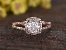 cushion ring 1 3 carat cushion moissanite engagement rings diamond promise 14k