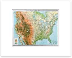 Topographic Map Of The United States by Countries North America Vintage Maps