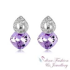 purple stud earrings 18k white gold plated made with swarovski purple