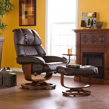 Ottoman Cafe Bonded Leather Recliner And Ottoman Cafe Brown