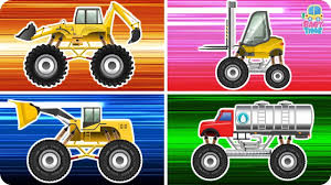 monster trucks videos monster truck construction vehicle learning construction