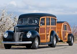 roll royce scarface 1940 ford woody station wagon and matching teardrop trailer