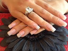 full set of acrylic nails with pink gelux gel polish and swarofski