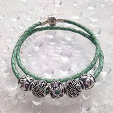 bracelet leather pandora images Pandora double green leather marthnickbeads jpg