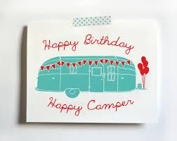 vintage style happy birthday happy camper airstream trailer