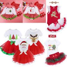1st christmas baby girls dress kids xmas santa tree party tutu