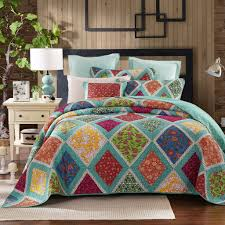 Quilted Bedspread King Dada Bedding Reversible Cotton Fairy Forest Glade Floral Bright