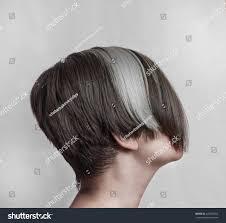 women s bob hairstyle womens short asymmetric haircut long bangs stock photo 445355362