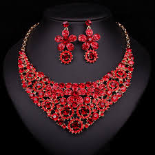 fashion necklace earring sets images Beautiful red flower pendant necklace earrings bridal jewelry sets jpg