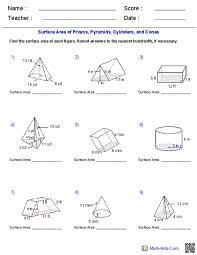 surface area of pyramids worksheet worksheets