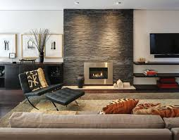 stacked stone fireplace design trendy living room photo in other