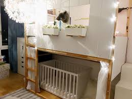 Bunk Bed With Crib On Bottom by High Bed Bunk Bed With Baby Cot Ikea Kura Hack With Two Kura U0027s