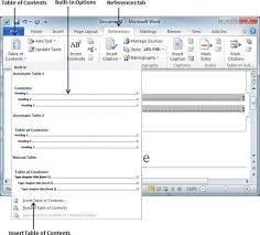 create table of contents in word table of contents in word 2010