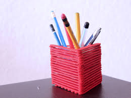 how to make a pencil holder with popsicle sticks with pictures