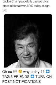 jackie chan peacefully passed by a store in koreatown nyc today at