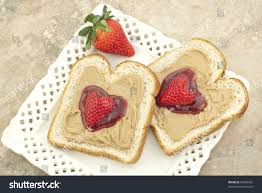 s day strawberries peanut butter strawberry jam on bread stock photo 69290962