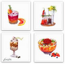 watercolor cocktail drink illustrations in watercolour heidi willis botanical and