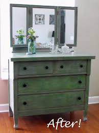 Bedroom Furniture Painted With Chalk Paint After Makeover Wood Makeup Dressing Table With 4 Drawer Painted