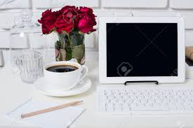 Office Desk Flowers by Young Business Woman Workspace White Feminine Office Interior