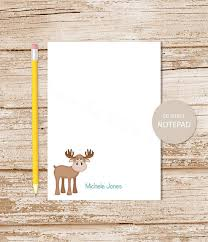 personalized stationary personalized moose notepad whimsical moose note pad personalized