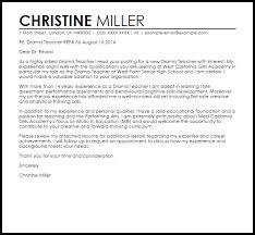 drama teacher cover letter sample livecareer