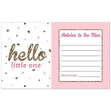 to be advice cards hello one pink and gold girl baby shower helpful hint