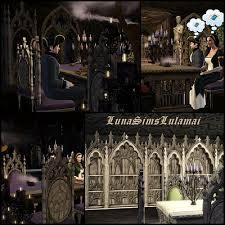 Gothic Dining Room Furniture Sims 3 Updates Luna Sims Lulamai Gothic Dining Study Set